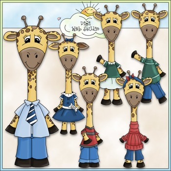 Dressed Up Giraffes Clip Art - Animals Clip Art - CU Clip Art & B&W