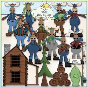 Dressed Up Moose Clip Art - Northwoods Clip Art - Log Cabin - CU Clip Art & B&W
