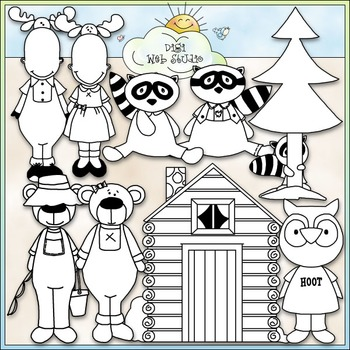 Dressed Up Northwoods Animals Clip Art - CU Clip Art & B&W