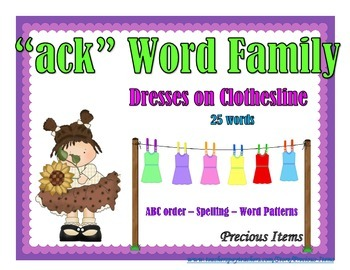 "Dresses on Clothesline - ""ack"" Word Family"