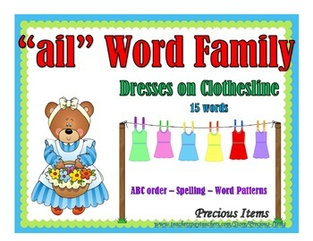 "Dresses on Clothesline - ""ail"" Word Family"