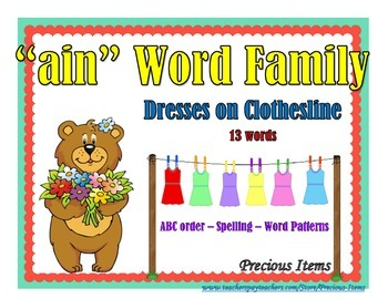 "Dresses on Clothesline - ""ain"" Word Family"