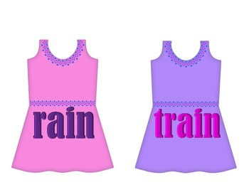 "Dresses on Clothesline - ""ain"" Word Family"