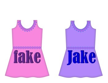 "Dresses on Clothesline - ""ake"" Word Family"