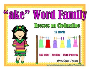 "Dresses on Clothesline - ""ake"" Word Family"
