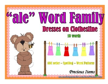 """Dresses on Clothesline - """"ale"""" Word Family"""