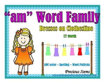 """Dresses on Clothesline - """"am"""" Word Family"""