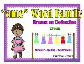 """Dresses on Clothesline - """"ame"""" Word Family"""