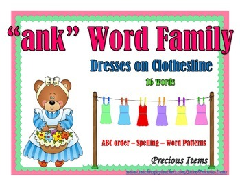 "Dresses on Clothesline - ""ank"" Word Family"