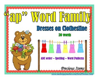 "Dresses on Clothesline - ""ap"" Word Family"