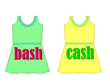 "Dresses on Clothesline - ""ash"" Word Family"