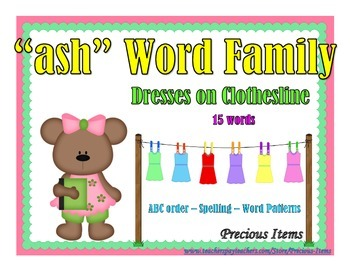 """Dresses on Clothesline - """"ash"""" Word Family"""