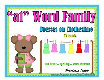 """Dresses on Clothesline - """"at"""" Word Family"""
