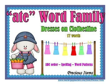 """Dresses on Clothesline - """"ate"""" Word Family"""