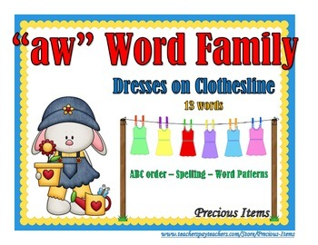 """Dresses on Clothesline - """"aw"""" Word Family"""