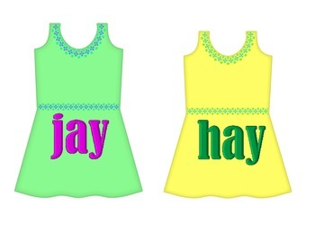 "Dresses on Clothesline - ""ay"" Word Family"
