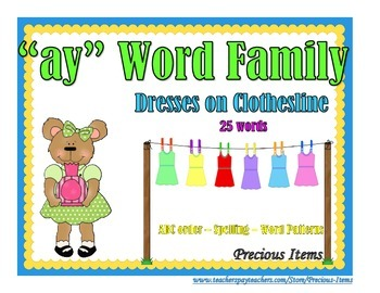 """Dresses on Clothesline - """"ay"""" Word Family"""