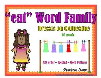 "Dresses on Clothesline - ""eat"" Word Family"