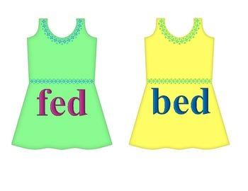 "Dresses on Clothesline - ""ed"" Word Family"