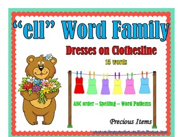 """Dresses on Clothesline - """"ell"""" Word Family"""