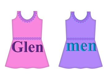 "Dresses on Clothesline - ""en"" Word Family"