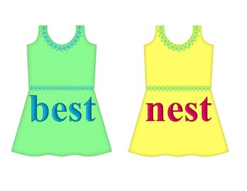 "Dresses on Clothesline - ""est"" Word Family"