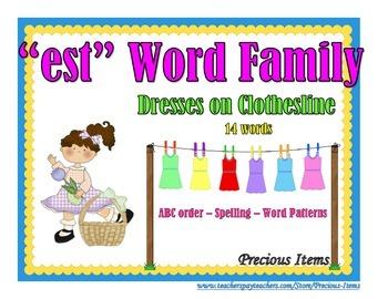 "Dresses on Clothesline - ""est"" Word Family"
