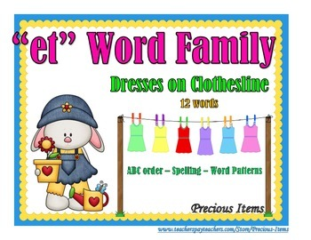 "Dresses on Clothesline - ""et"" Word Family"