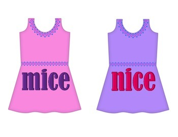 """Dresses on Clothesline - """"ice"""" Word Family"""