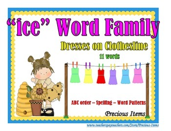 "Dresses on Clothesline - ""ice"" Word Family"