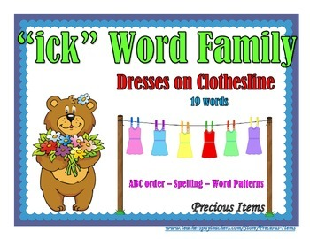 """Dresses on Clothesline - """"ick"""" Word Family"""