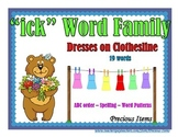 "Dresses on Clothesline - ""ick"" Word Family"