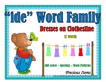 """Dresses on Clothesline - """"ide"""" Word Family"""