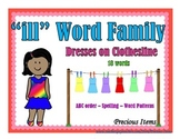 """Dresses on Clothesline - """"ill"""" Word Family"""