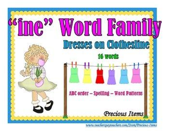"Dresses on Clothesline - ""ine"" Word Family"
