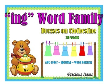 "Dresses on Clothesline - ""ing"" Word Family"