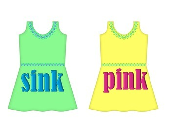 """Dresses on Clothesline - """"ink"""" Word Family"""