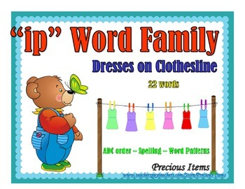 "Dresses on Clothesline - ""ip"" Word Family"