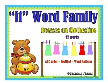 """Dresses on Clothesline - """"it"""" Word Family"""