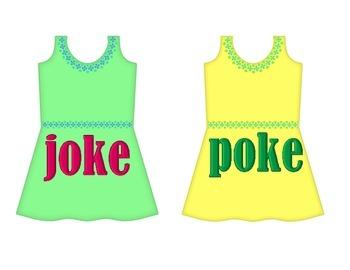 "Dresses on Clothesline - ""oke"" Word Family"