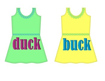 """Dresses on Clothesline - """"uck"""" Word Family"""