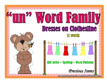 """Dresses on Clothesline - """"un"""" Word Family"""