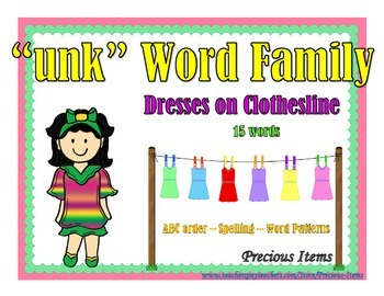 "Dresses on Clothesline - ""unk"" Word Family"