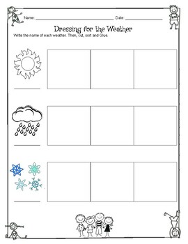 Dressing For The Weather, Weather Wheel, & Spin And Graph The Weather