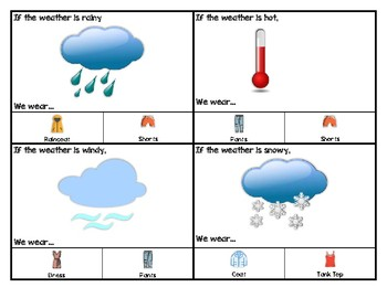 Dressing for the Weather Task Box Cards