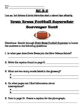 Drew Brees Football Superstar Scavenger Hunt
