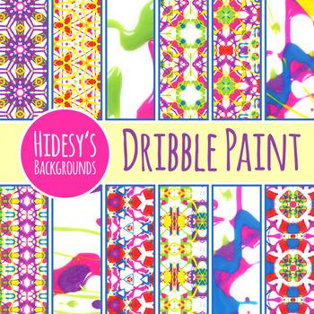 Dribble Paint Background / Digital Paper Clip Art Set for Commercial Use