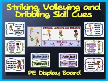 Striking, Volleying and Dribbling Skill Cues- PE Display Board