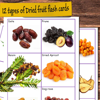 Dried fruit, Grains and Cereals Flashcards (Vocabulary flash cards)