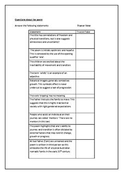 Drifters Bruce Dawe Questions/ Activities